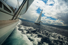 Sailing ship luxury yachts during a race regatta Stock Photography