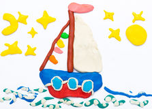 Sailing ship made of plasticine Royalty Free Stock Photography