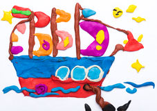 Sailing ship made of plasticine Royalty Free Stock Image