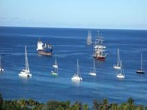 The sailing ship mandalay in the windward islands stock video
