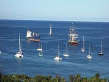 The sailing ship mandalay in the windward islands stock video footage