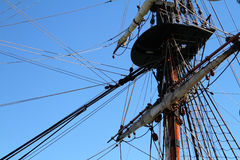 Sailing ship mast. Detail of a sailing ships mast and rigging Stock Photos