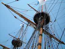 Sailing Ship Masts. Upwards view of a ship's masts Royalty Free Stock Photos