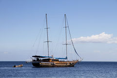 Sailing ship on Mediterranean sea Stock Image