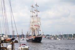 Sailing ship mercedes at public event hanse sail. Warnemuende / Germany - August 12, 2017: sailing ship mercedes at public event hanse sail in warnemuende Stock Photo
