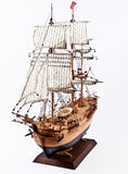 Sailing ship model. Model of wooden sailing ship isolated stock photography