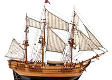 Sailing ship model. Model of wooden sailing ship with three mast Stock Photos