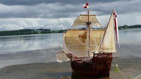 Sailing Ship model - hand made Santa Maria - 4K Stock Photography