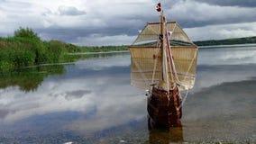 Sailing Ship model - hand made Santa Maria - 4K Stock Images