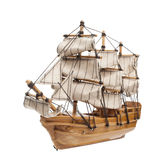 Sailing ship model isolated on white background Stock Photos