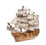 Sailing ship model isolated on white background Stock Photos