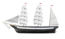Sailing ship model  on a white background. 3d rendering.  Royalty Free Stock Photography