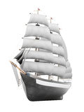 Sailing ship model on a white background. 3d rendering.  Royalty Free Stock Photo