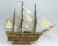 Sailing ship model. Wooden model sailing ship Santisima Trynidad, was a Spanish first-rate ship of the line, She was built at Havana, Cuba in 1796 stock photography