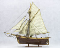 Sailing ship model. Wooden model sailing ship from the 18th century royalty free stock images