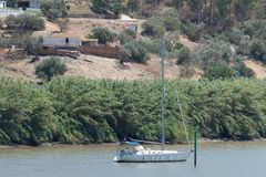 Sailing ship moored on the Rio Guadiana on the border berween Po stock images