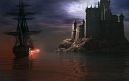 Sailing ship near the castle Royalty Free Stock Photos
