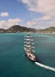 Sailing ship near island Royalty Free Stock Image