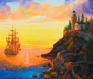 Sailing ship near a rocky coast at sunset. Oil painting on canvas. Sunset on the sea Stock Images