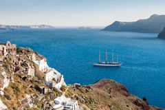 Sailing ship near the Santorini island, Greece Royalty Free Stock Image