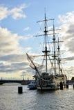 Sailing ship on Neva River. Royalty Free Stock Images