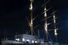 Sailing Ship at night in Sevastopol Stock Photo