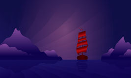 Sailing ship on the night skyline Royalty Free Stock Image