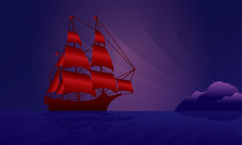 Sailing ship on the night skyline Stock Photography