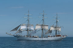 Fullrigger Christian Radich. Norwegian tall ship Christian Radich on her way from Gdynia, Poland to Saint Petersburg, Russia in the Bay of Finland Stock Photo