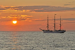 Sailing Ship. Norwegian tallship on Gulf of Finland in sunset Stock Photos