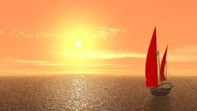 Sailing ship on orange sunrise