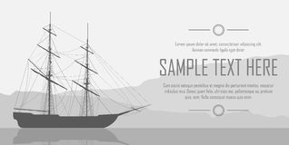 Sailing ship over huge mountains Royalty Free Stock Images