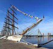Sailing ship at pier, Riga - Latvia Stock Photo