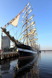Sailing ship standing at the pier in early morning, Riga - Latvia  Royalty Free Stock Images