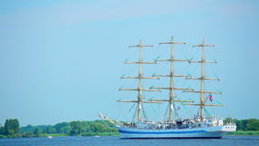 Sailing ship, Poland. Sailing ship at sunny summer day, The Tall Ships Races 2013, West Pomeranian, Oder River, Poland, Europe stock footage