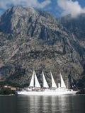 Big sailing ship and high mountain royalty free stock photo
