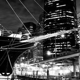 Sailing Ship Prow & Skyline of New York. At South Sea Seaport in Manhattan, New York's skyscapers and the prow of a 19th Century sailing ship form an irrestible stock image