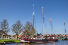 Sailing ship at the quay in Stavoren Stock Images