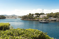 Sailing Ship reaches Harbour in Majorca Stock Images