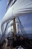 Sailing Ship. Rigging, masts and sails og a brig - Polish vessel Fryderyk Chopin on her cruise in summer. Slide scan Stock Images