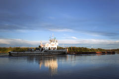 Sailing ship. Ship sailing at the river stock image