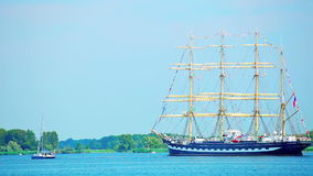 Sailing ship on River, Poland stock video