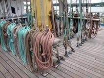 Sailing ship ropes Stock Photo