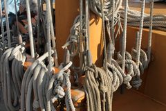Sailing ship ropes and rigging Stock Images