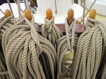 Sailing ship ropes Royalty Free Stock Photo
