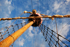 Sailing ship's. Furled canvas sails and complicated rope Royalty Free Stock Photos