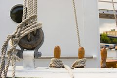 Sailing ship's rigging. Various ships rigging, including line, deadeye and bitts Stock Photo