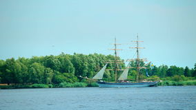 Sailing ship, sailing on Oder River, Poland stock footage