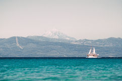 Sailing ship sails in the Aegean Sea Royalty Free Stock Photography