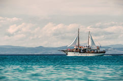 Sailing ship sails in the Aegean Sea Royalty Free Stock Image